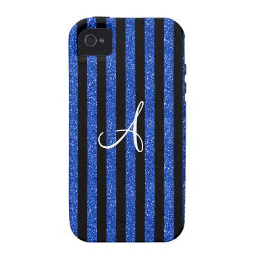Rayas azules del brillo del monograma Case-Mate iPhone 4 fundas