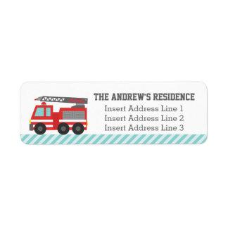 Rayas azules del coche de bomberos rojo lindo etiquetas de remite