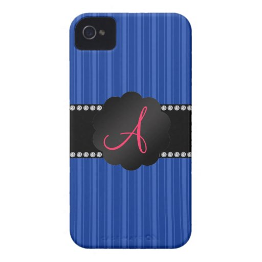 Rayas azules del monograma Case-Mate iPhone 4 protector
