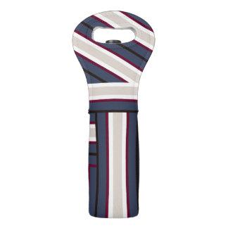 Rayas azules del #OutdoorFun y blancas británicas Bolsas Para Botella De Vino