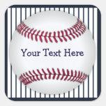 Rayas azules del Pin del béisbol personalizadas Calcomania Cuadradas Personalizadas