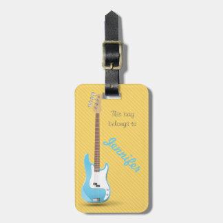 Rayas azules elegantes del amarillo de la guitarra etiquetas maleta