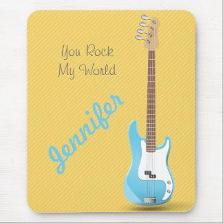 Rayas azules elegantes del amarillo de la guitarra alfombrilla de raton