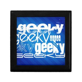 Rayas azules Geeky, reales Joyero Cuadrado Pequeño