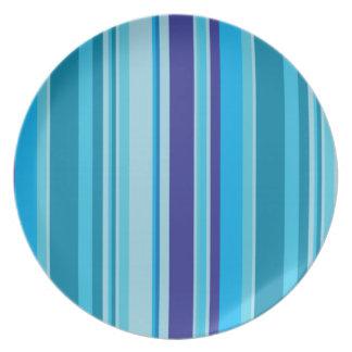 Rayas azules modernas, placa elegante del artículo plato para fiesta