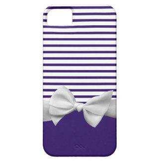 Rayas azules náuticas con la cinta blanca iPhone 5 Case-Mate cárcasas
