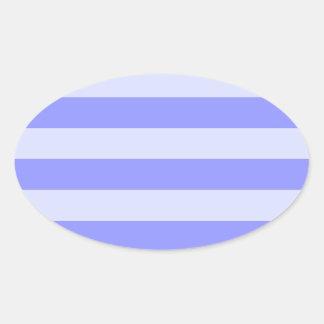 Rayas azules náuticas pegatina ovalada