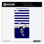 Rayas azules náuticas y gráfico blanco de la cinta skins para eliPhone 4