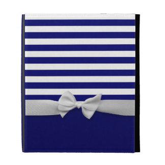 Rayas azules náuticas y gráfico blanco del arco de