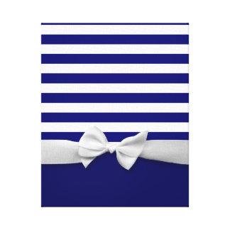 Rayas azules náuticas y gráfico blanco del arco de impresiones en lona