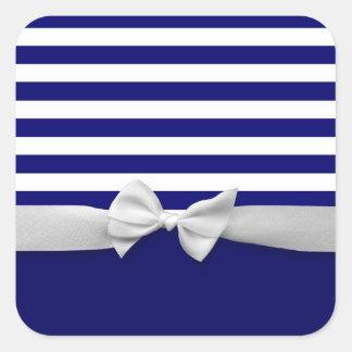 Rayas azules náuticas y gráfico blanco del arco de calcomanía cuadradas personalizada