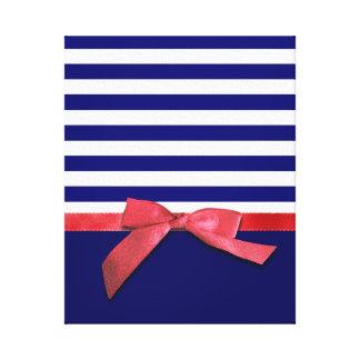Rayas azules náuticas y gráfico rojo del arco de l impresiones de lienzo