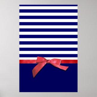 Rayas azules náuticas y gráfico rojo del arco de l posters