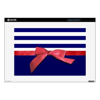 Rayas azules náuticas y gráfico rojo del arco de portátil 38,1cm skins