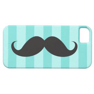Rayas azules negras de la aguamarina del bigote y funda para iPhone 5 barely there