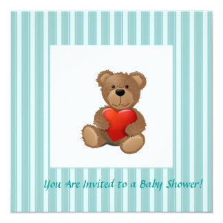 """Rayas azules - oso de peluche con el corazón de la invitación 5.25"""" x 5.25"""""""