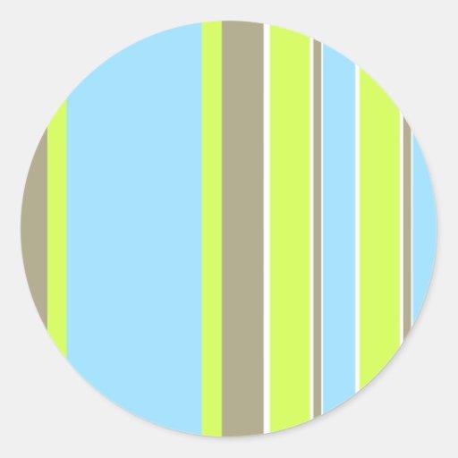 Rayas azules pegatinas redondas