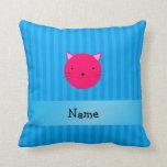Rayas azules personalizadas de la cara rosada cojin