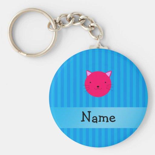 Rayas azules personalizadas de la cara rosada cono llaveros personalizados