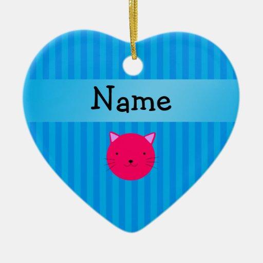 Rayas azules personalizadas de la cara rosada adorno de cerámica en forma de corazón