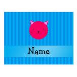 Rayas azules personalizadas de la cara rosada postal