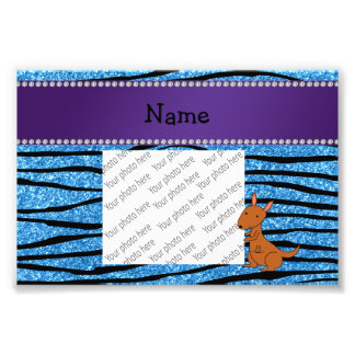 Rayas azules personalizadas de la cebra del cangur impresiones fotograficas