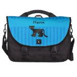 Rayas azules personalizadas de la pantera conocida bolsa para ordenador
