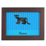 Rayas azules personalizadas de la pantera conocida cajas de recuerdos