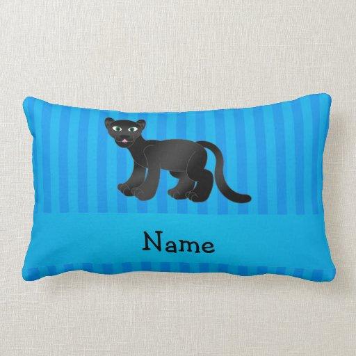 Rayas azules personalizadas de la pantera conocida cojin