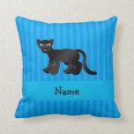 Rayas azules personalizadas de la pantera conocida almohada