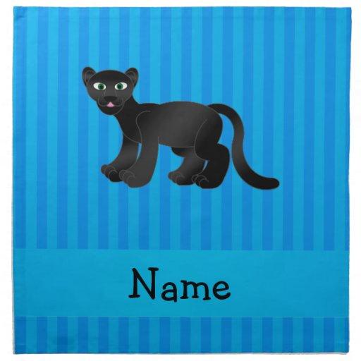 Rayas azules personalizadas de la pantera conocida servilletas