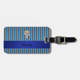 Rayas azules personalizadas del astronauta conocid etiqueta para equipaje