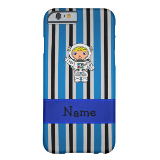 Rayas azules personalizadas del astronauta funda de iPhone 6 barely there