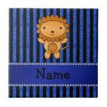 Rayas azules personalizadas del brillo del león co teja