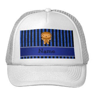 Rayas azules personalizadas del brillo del león co gorro de camionero