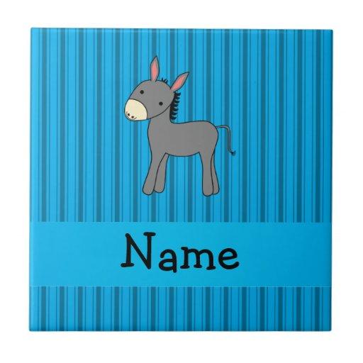 Rayas azules personalizadas del burro conocido azulejo cuadrado pequeño