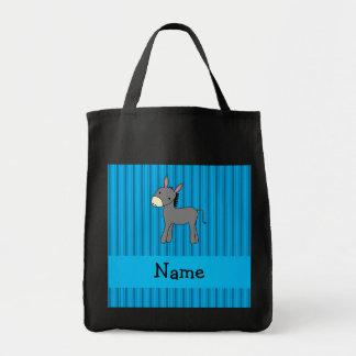 Rayas azules personalizadas del burro conocido bolsas