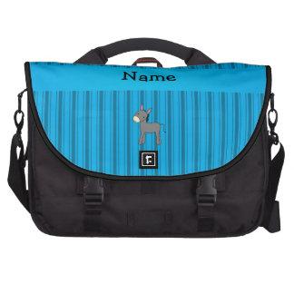 Rayas azules personalizadas del burro conocido bolsas de ordenador