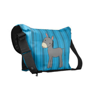 Rayas azules personalizadas del burro conocido bolsas messenger