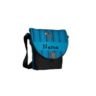 Rayas azules personalizadas del burro conocido bolsa de mensajeria
