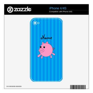 Rayas azules personalizadas del cerdo rosado conoc iPhone 4S skins