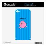 Rayas azules personalizadas del cerdo rosado conoc calcomanía para el iPhone 4