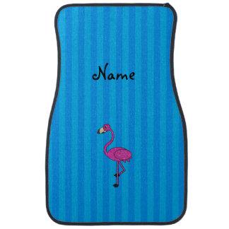 Rayas azules personalizadas del flamenco rosado alfombrilla de auto