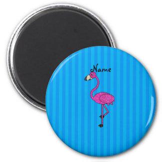 Rayas azules personalizadas del flamenco rosado co imán redondo 5 cm