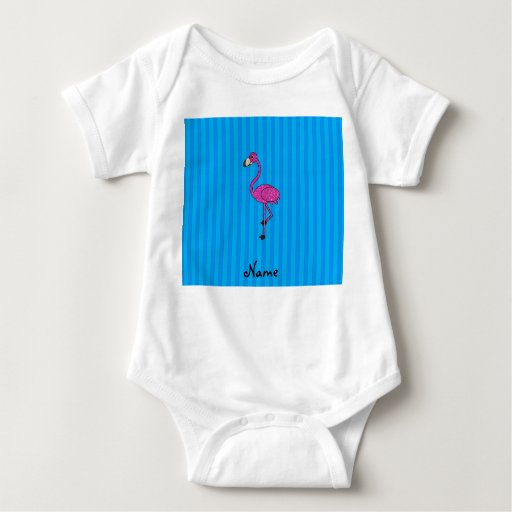 Rayas azules personalizadas del flamenco rosado tee shirts