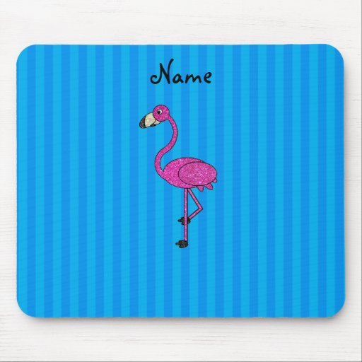 Rayas azules personalizadas del flamenco rosado alfombrilla de ratón