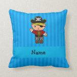 Rayas azules personalizadas del pirata conocido almohadas