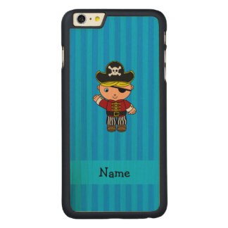 Rayas azules personalizadas del pirata conocido funda de arce carved® para iPhone 6 plus