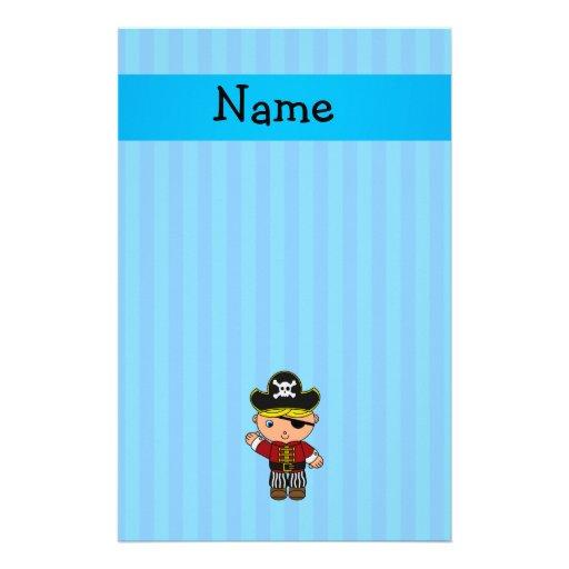Rayas azules personalizadas del pirata conocido papelería