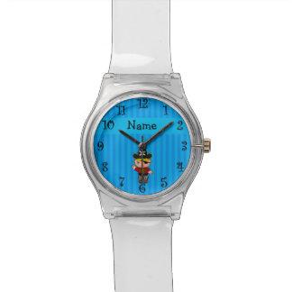 Rayas azules personalizadas del pirata conocido relojes